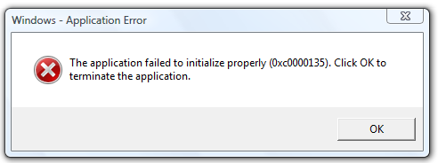 The application failed to initialize properly (0xc0000135)